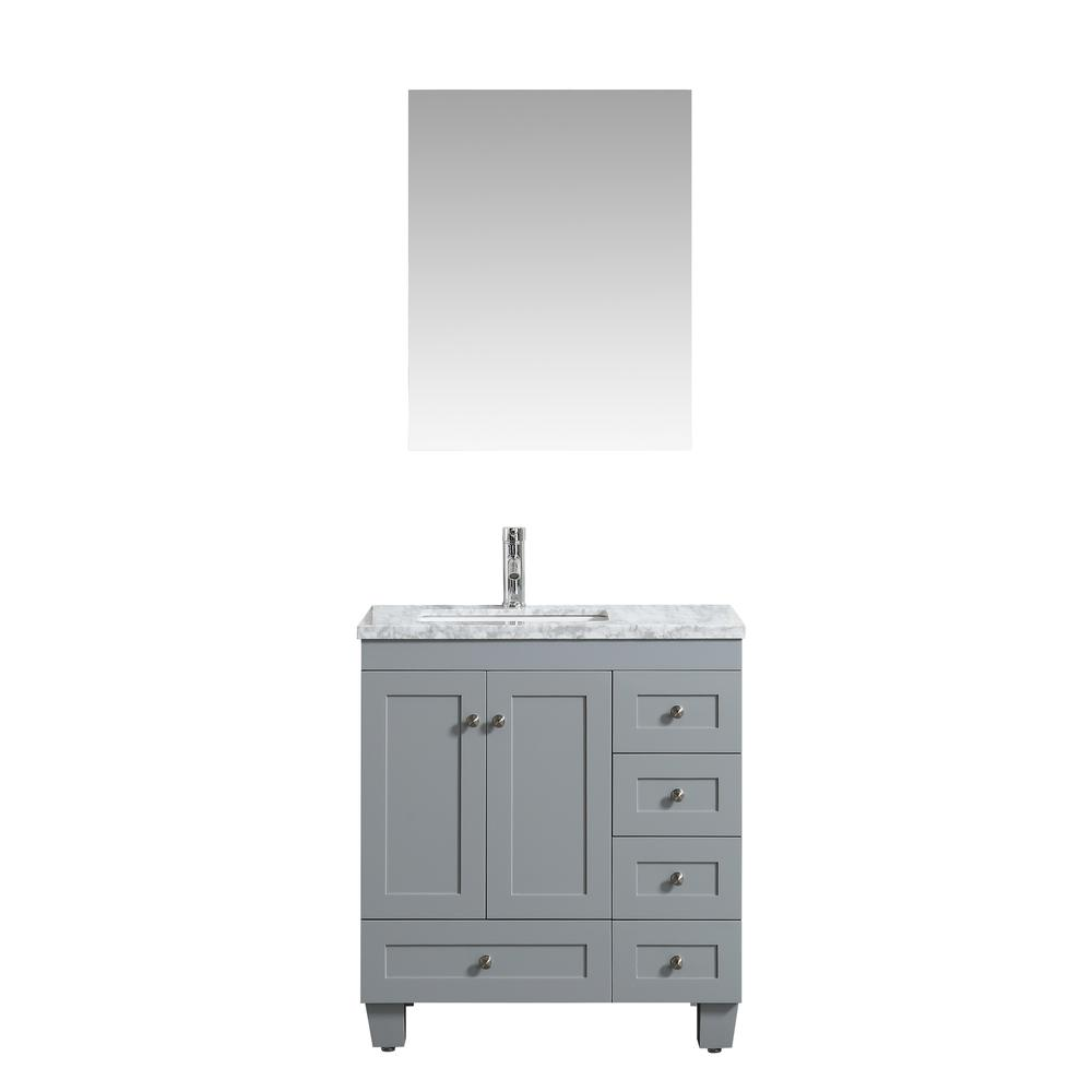 "Happy 24"" x 18"" Gray Transitional Bathroom Vanity w/ White Carrara Top. Picture 1"