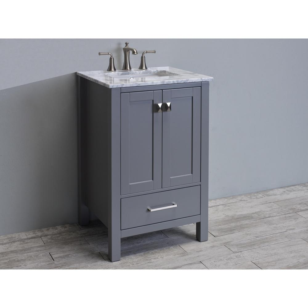 """Aberdeen 24"""" Gray Transitional Bathroom Vanity w/ White Carrara Top. Picture 2"""
