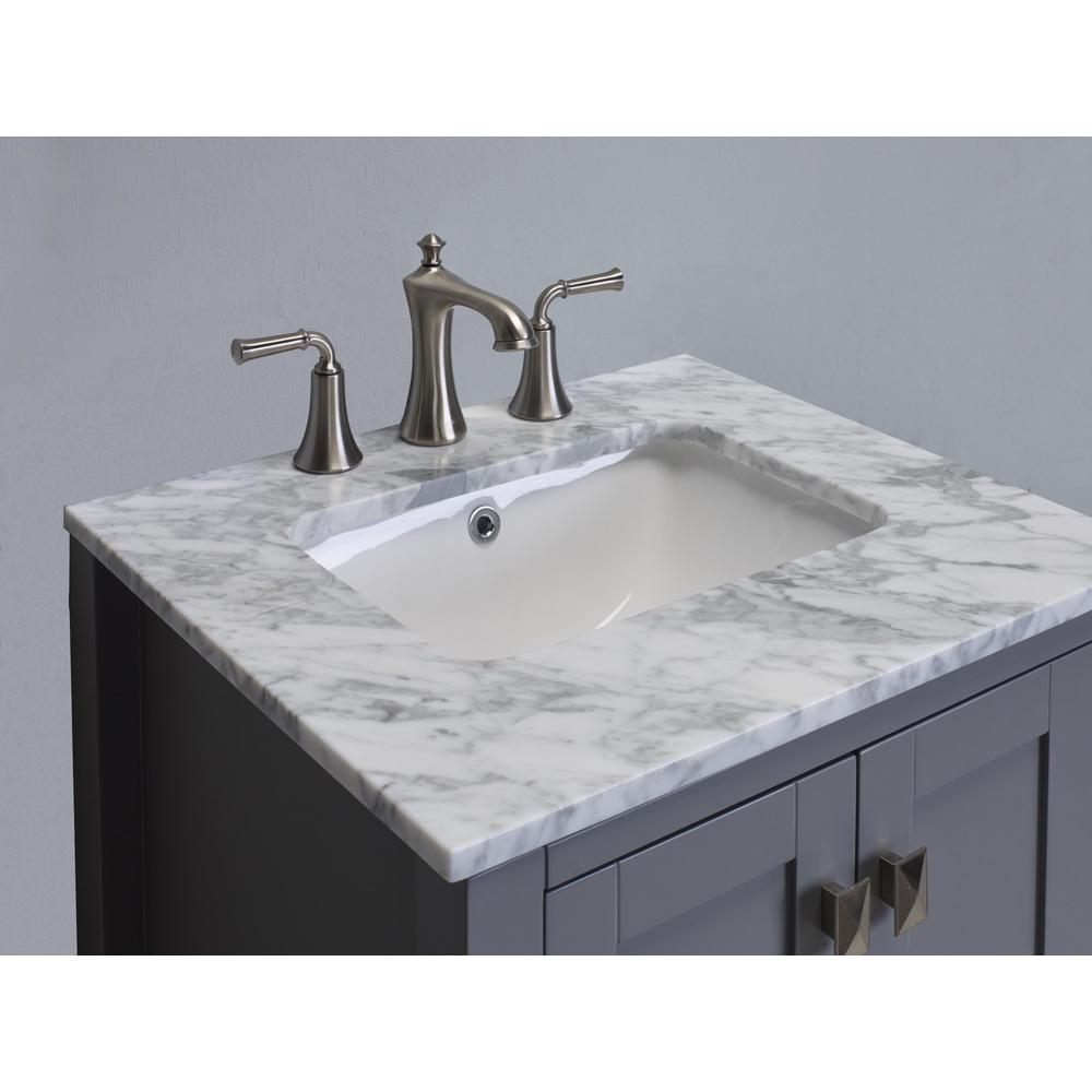"""Aberdeen 24"""" Gray Transitional Bathroom Vanity w/ White Carrara Top. Picture 3"""