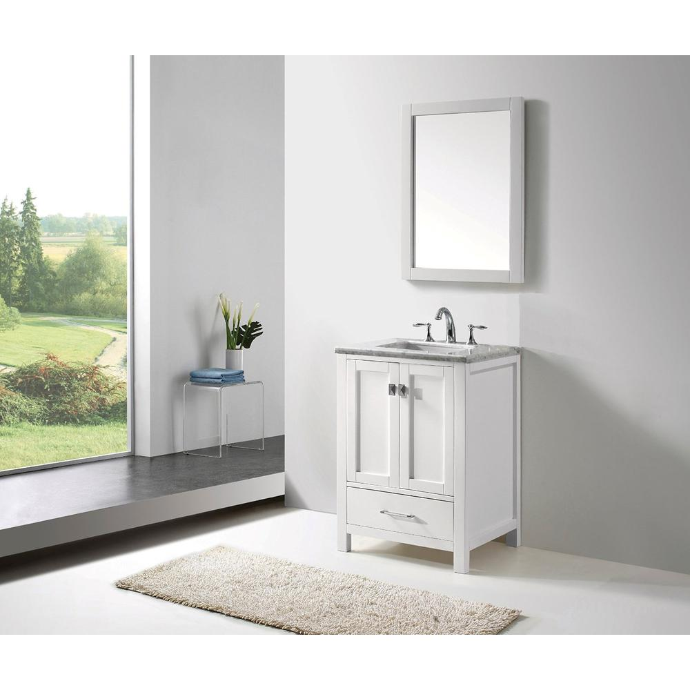 """Aberdeen 24"""" White Transitional Bathroom Vanity w/ White Carrara Top. Picture 2"""