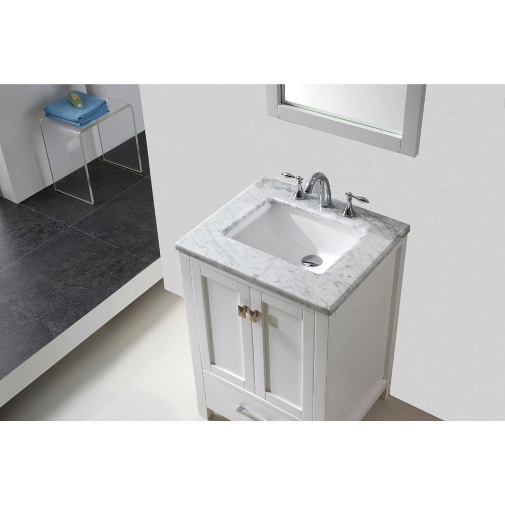 """Aberdeen 24"""" White Transitional Bathroom Vanity w/ White Carrara Top. Picture 3"""