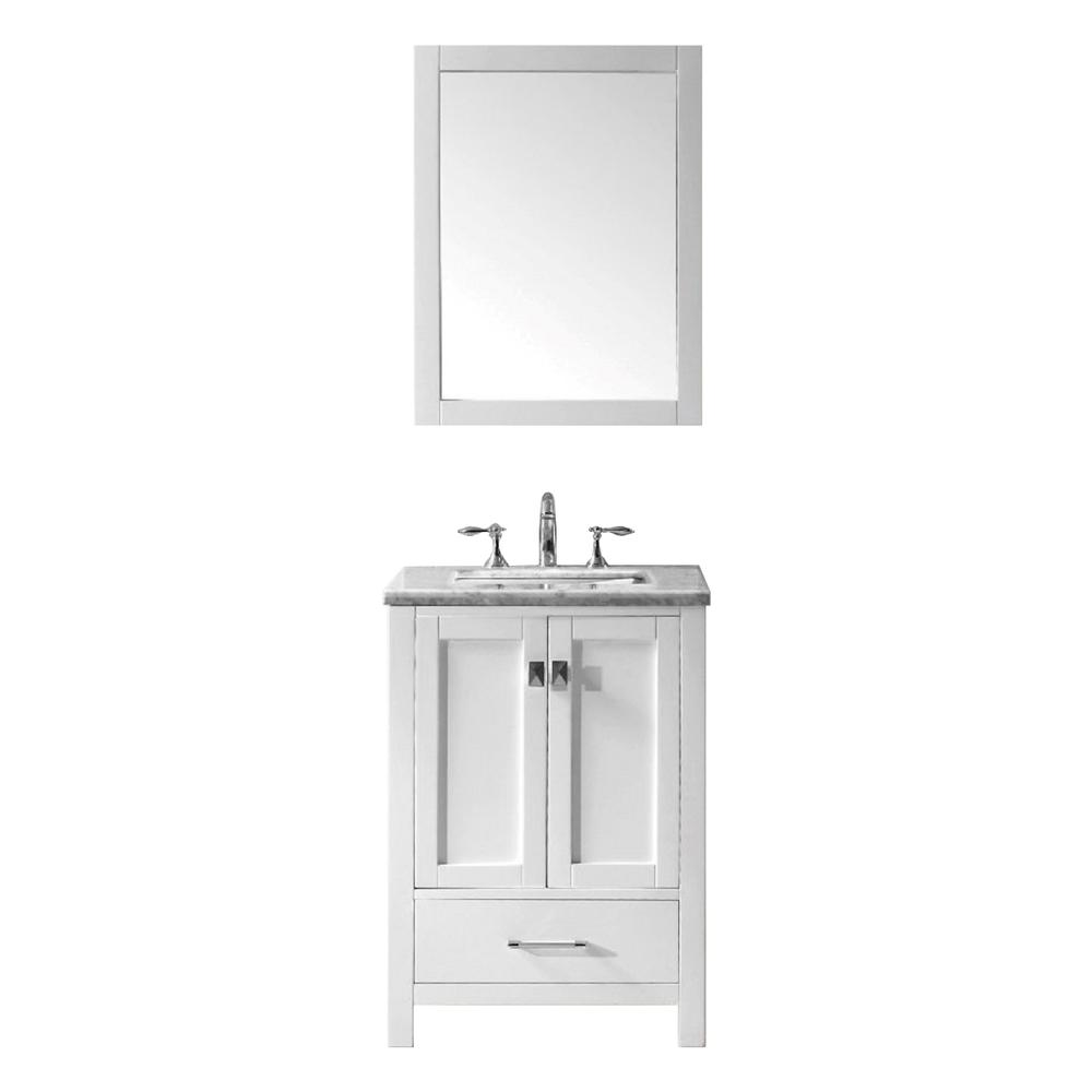 """Aberdeen 24"""" White Transitional Bathroom Vanity w/ White Carrara Top. Picture 1"""