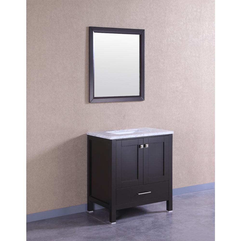 "Aberdeen 24"" Espresso Transitional Bathroom Vanity w/ White Carrara Top. Picture 2"