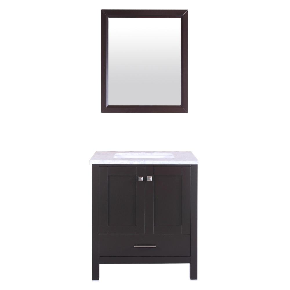 "Aberdeen 24"" Espresso Transitional Bathroom Vanity w/ White Carrara Top. Picture 1"