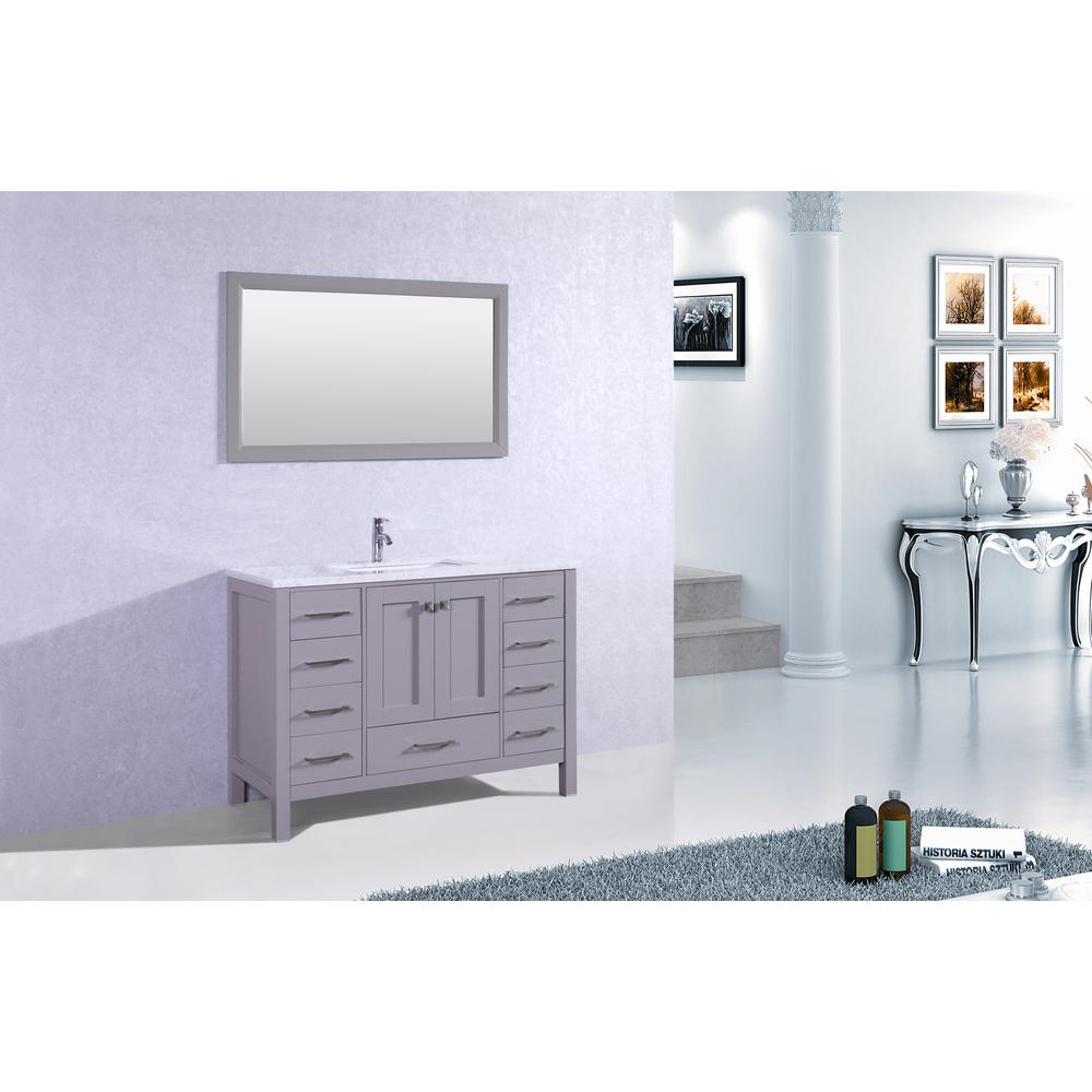 "Aberdeen 42"" Gray Transitional Bathroom Vanity w/ White Carrara Top. Picture 2"