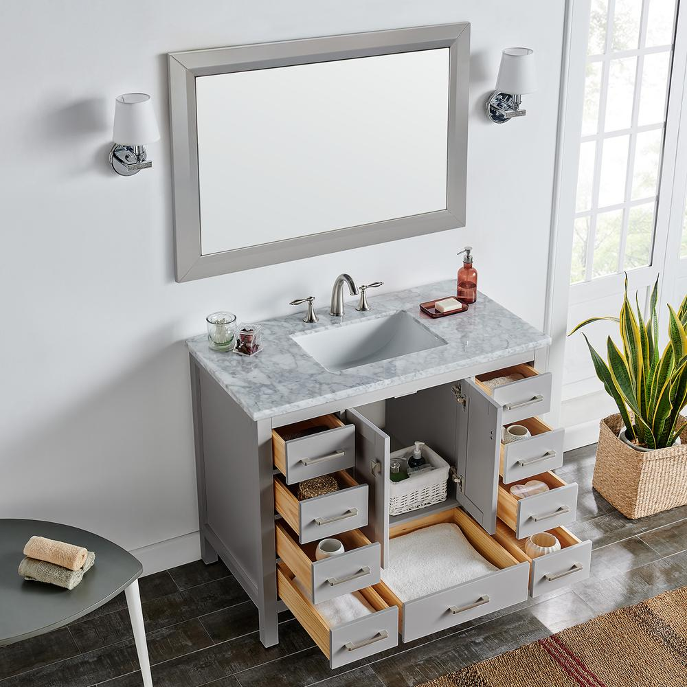 "Aberdeen 42"" Gray Transitional Bathroom Vanity w/ White Carrara Top. Picture 7"