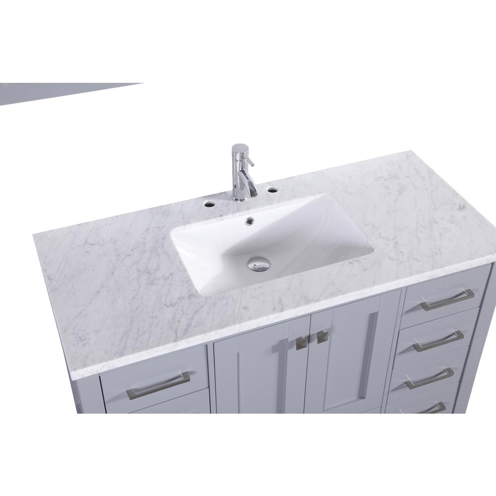"Aberdeen 42"" Gray Transitional Bathroom Vanity w/ White Carrara Top. Picture 3"