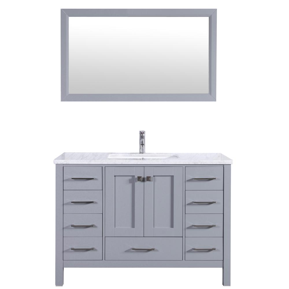 "Aberdeen 42"" Gray Transitional Bathroom Vanity w/ White Carrara Top. Picture 1"