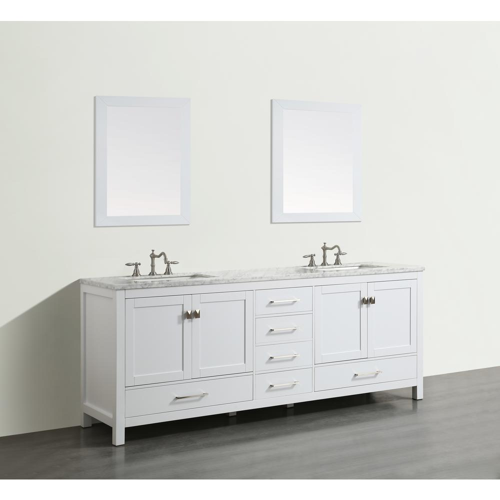 "Aberdeen 84"" White Transitional Double Sink Bathroom Vanity w/ White Carrara Top. Picture 2"