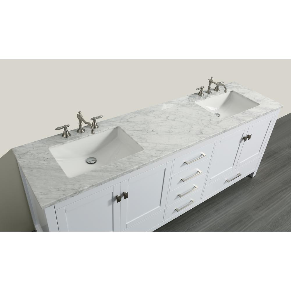 "Aberdeen 84"" White Transitional Double Sink Bathroom Vanity w/ White Carrara Top. Picture 3"