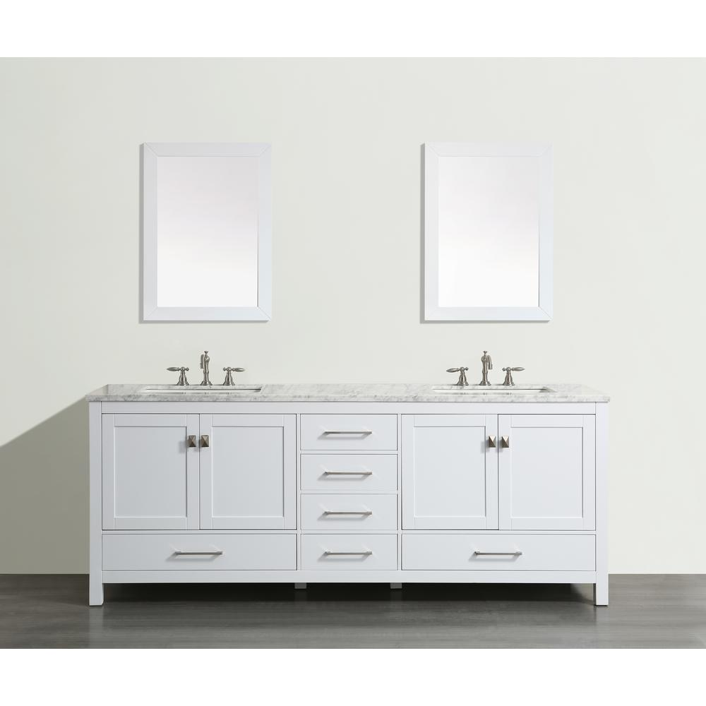 "Aberdeen 84"" White Transitional Double Sink Bathroom Vanity w/ White Carrara Top. Picture 1"