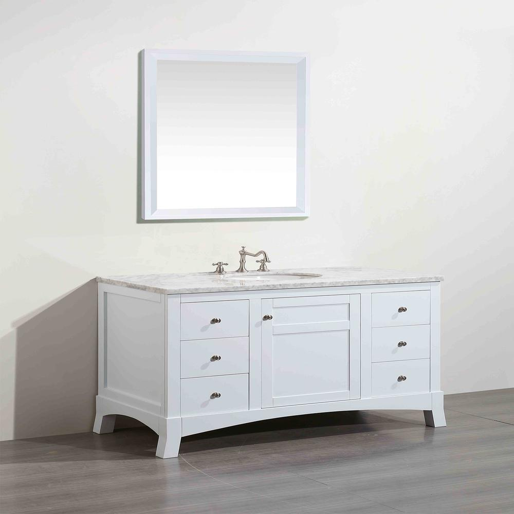 "New York 48"" White Bathroom Vanity w/ White Carrara Top. Picture 2"