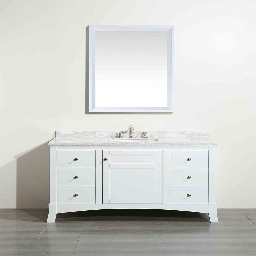 "New York 48"" White Bathroom Vanity w/ White Carrara Top. Picture 3"