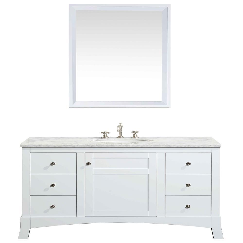 "New York 48"" White Bathroom Vanity w/ White Carrara Top. Picture 1"