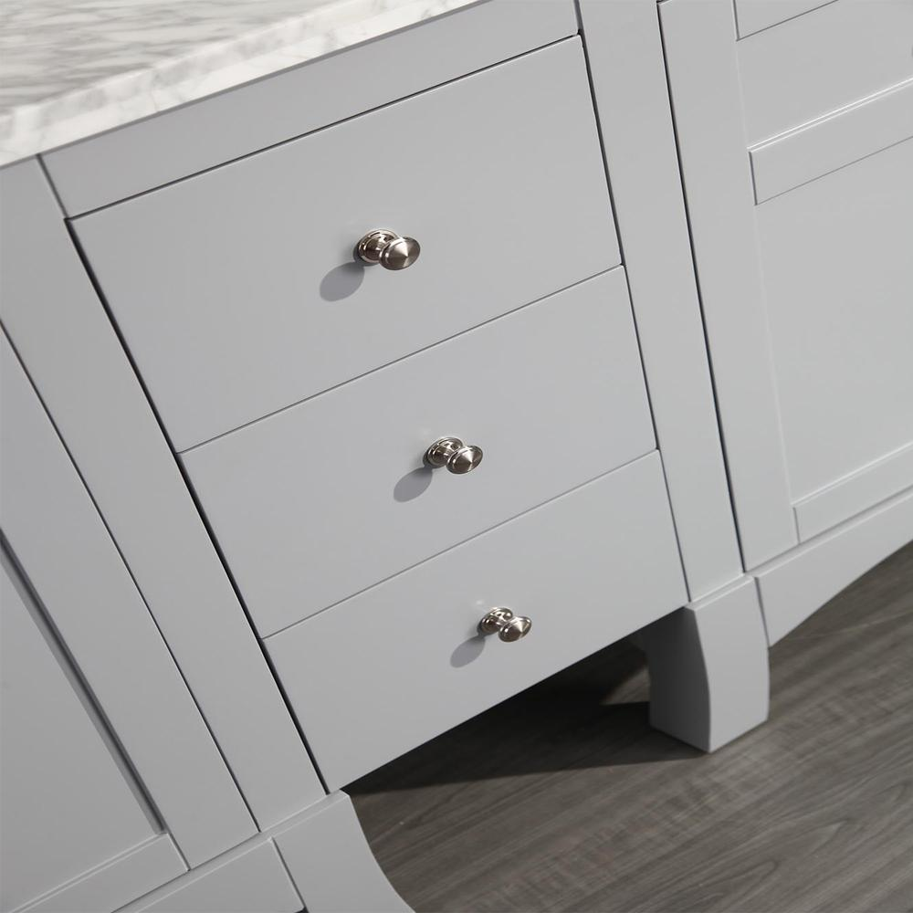"New York 60"" Gray Double Sink Bathroom Vanity w/ White Carrara Top. Picture 4"