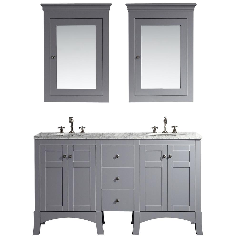 "New York 60"" Gray Double Sink Bathroom Vanity w/ White Carrara Top. Picture 1"