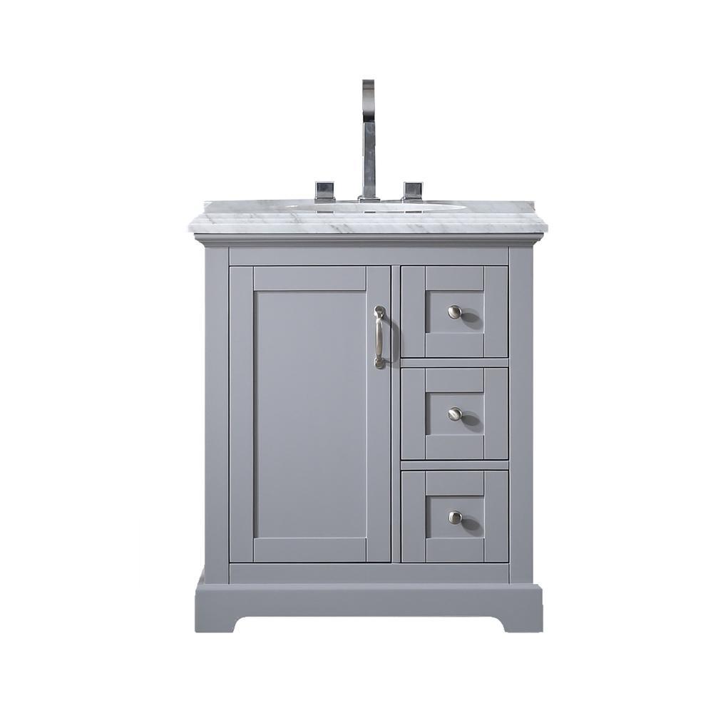"Houston 30"" Gray Bathroom Vanity w/ Double Ogee Edge White Carrara Top. Picture 1"