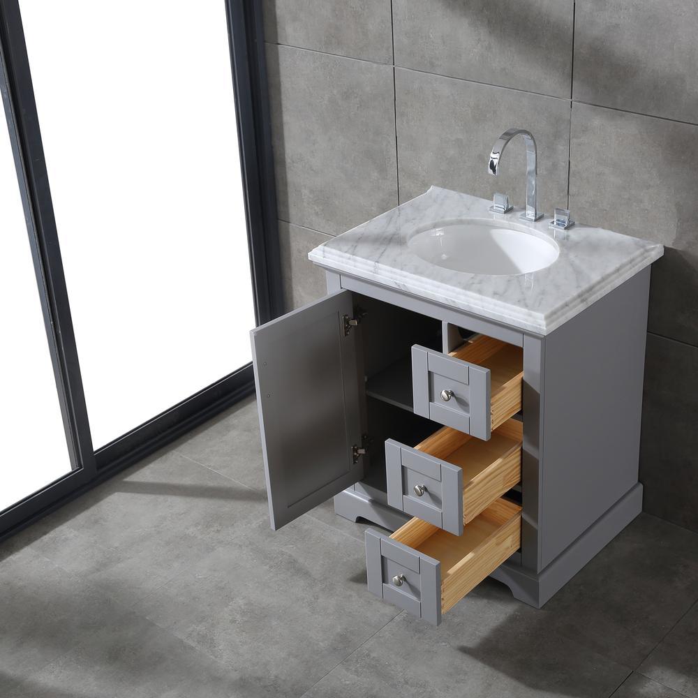 "Houston 30"" Gray Bathroom Vanity w/ Double Ogee Edge White Carrara Top. Picture 3"
