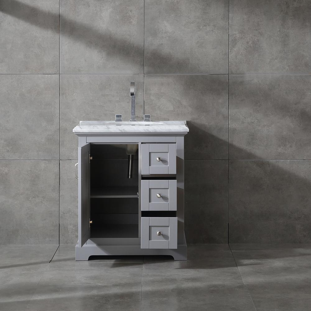 "Houston 30"" Gray Bathroom Vanity w/ Double Ogee Edge White Carrara Top. Picture 4"