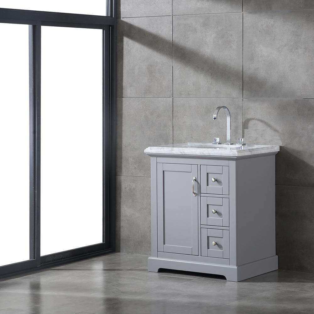 "Houston 30"" Gray Bathroom Vanity w/ Double Ogee Edge White Carrara Top. Picture 5"
