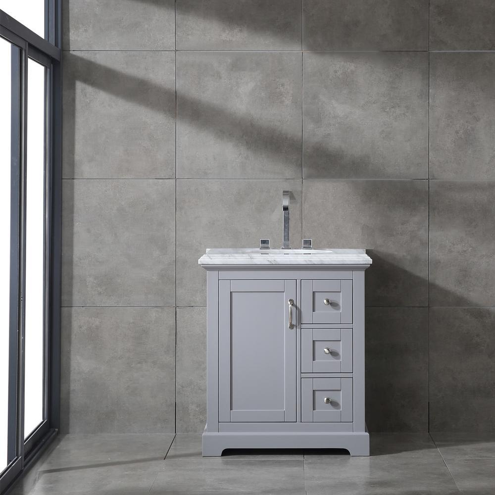 "Houston 30"" Gray Bathroom Vanity w/ Double Ogee Edge White Carrara Top. Picture 2"