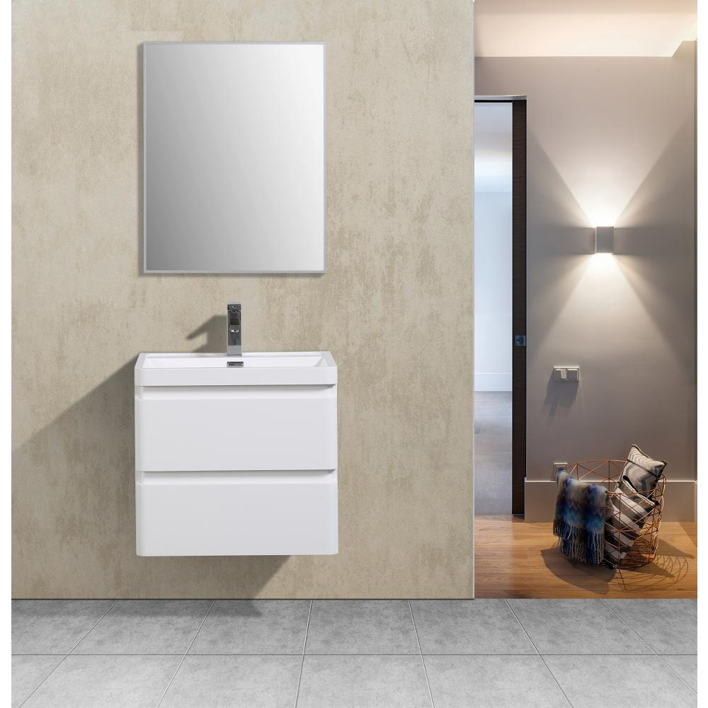 """Glazzy 24"""" Glossy White Wall Mount Modern Bathroom Vanity w/ White Integrated Top. Picture 2"""
