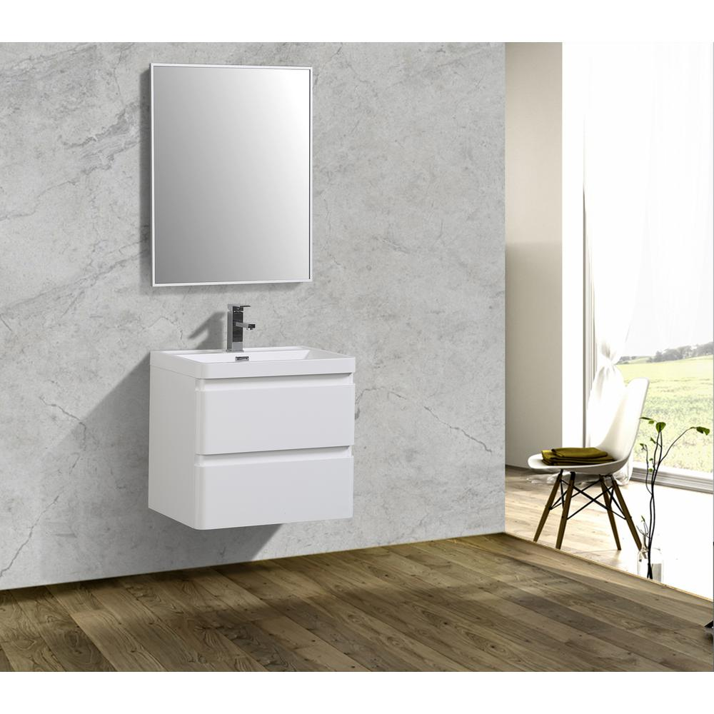 """Glazzy 24"""" Glossy White Wall Mount Modern Bathroom Vanity w/ White Integrated Top. Picture 3"""