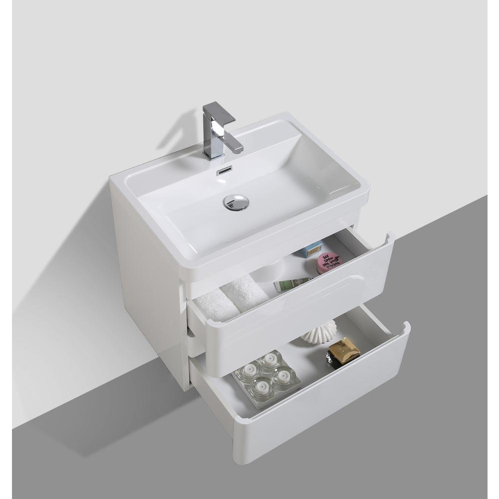 """Glazzy 24"""" Glossy White Wall Mount Modern Bathroom Vanity w/ White Integrated Top. Picture 4"""