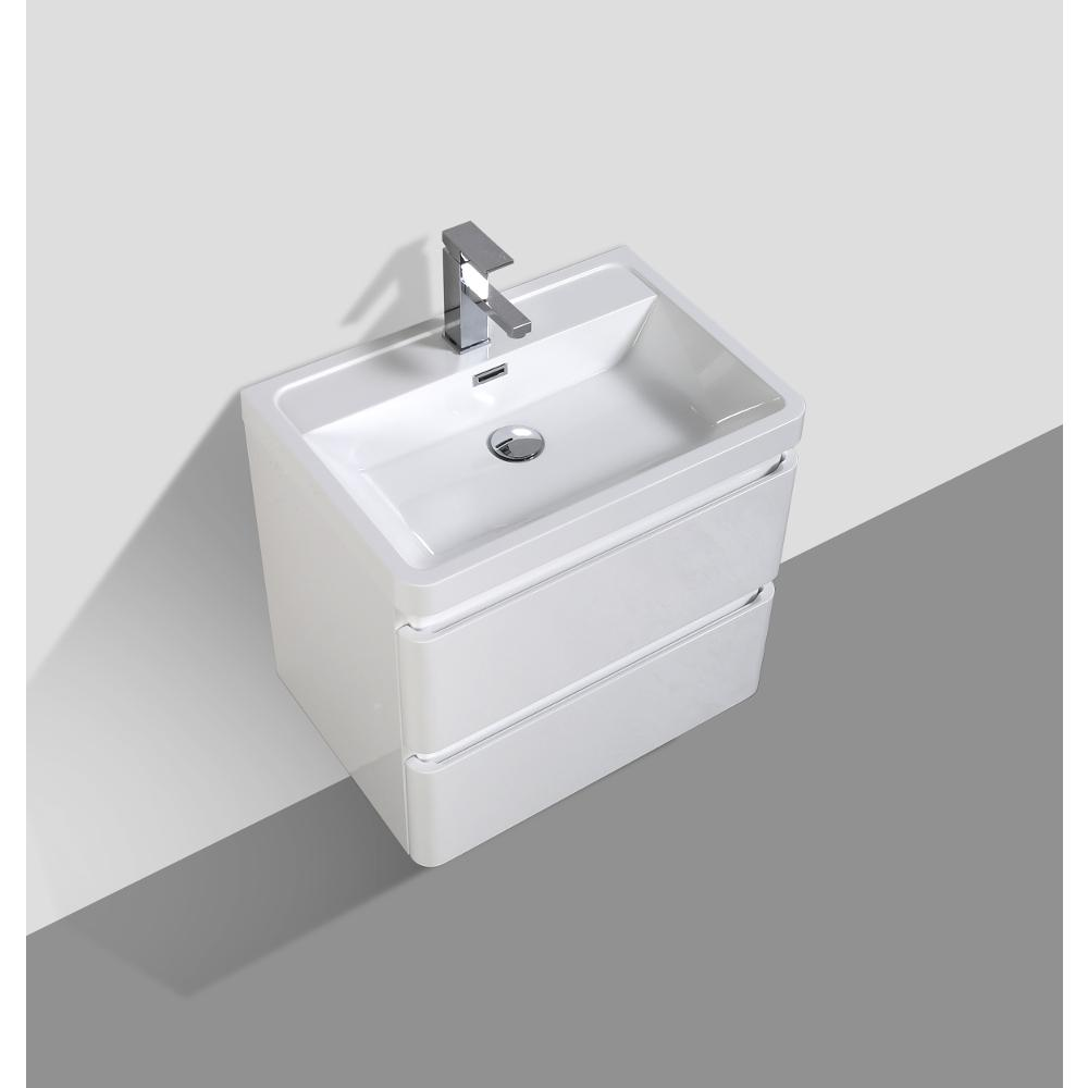 """Glazzy 24"""" Glossy White Wall Mount Modern Bathroom Vanity w/ White Integrated Top. Picture 5"""