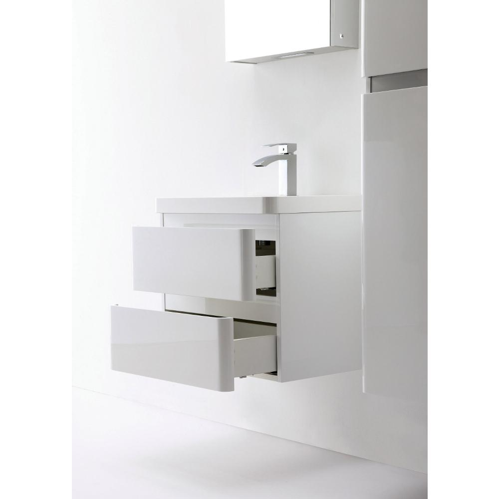 """Glazzy 24"""" Glossy White Wall Mount Modern Bathroom Vanity w/ White Integrated Top. Picture 6"""
