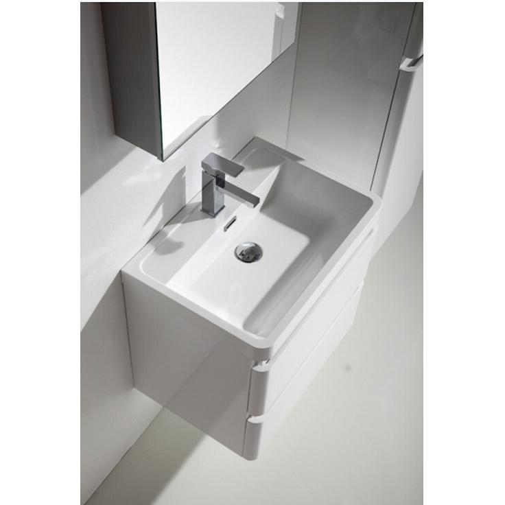 """Glazzy 24"""" Glossy White Wall Mount Modern Bathroom Vanity w/ White Integrated Top. Picture 7"""