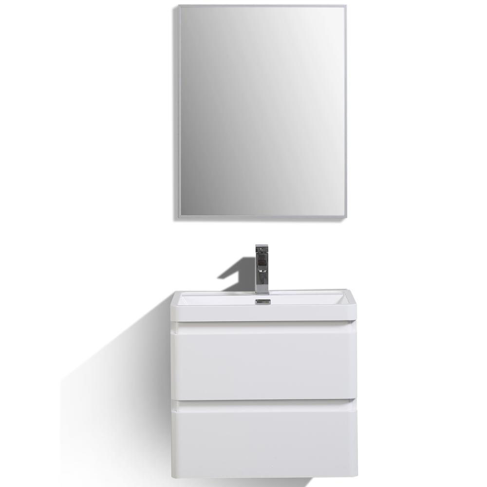 """Glazzy 24"""" Glossy White Wall Mount Modern Bathroom Vanity w/ White Integrated Top. Picture 1"""