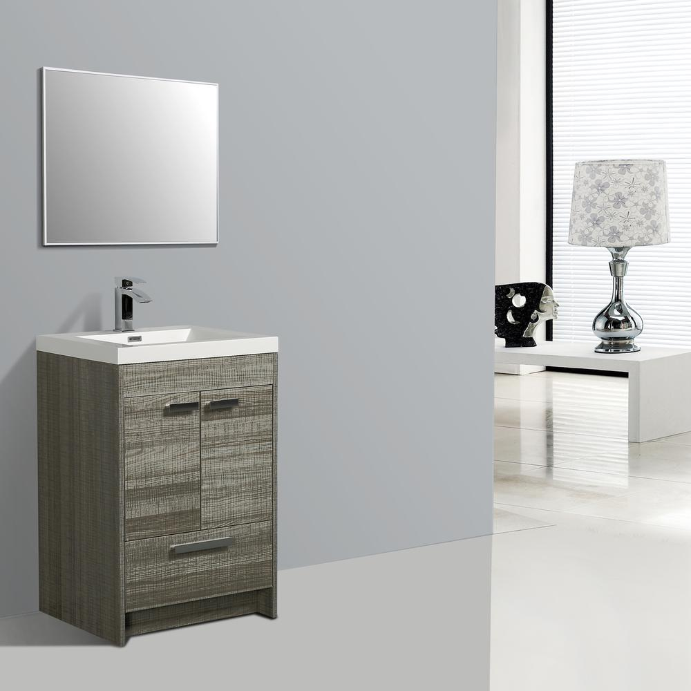 """Lugano 24"""" Ash Modern Bathroom Vanity w/ White Integrated Top. Picture 2"""