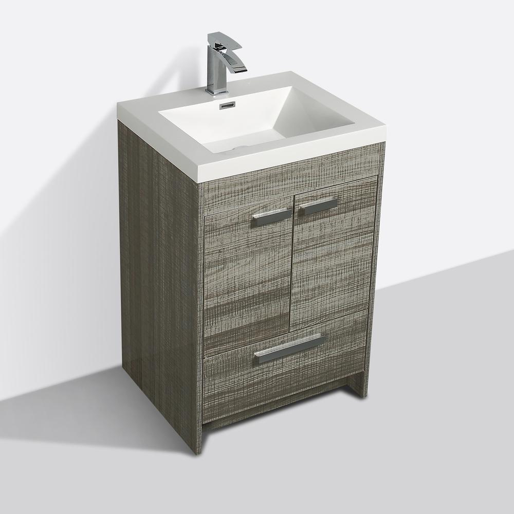 """Lugano 24"""" Ash Modern Bathroom Vanity w/ White Integrated Top. Picture 3"""