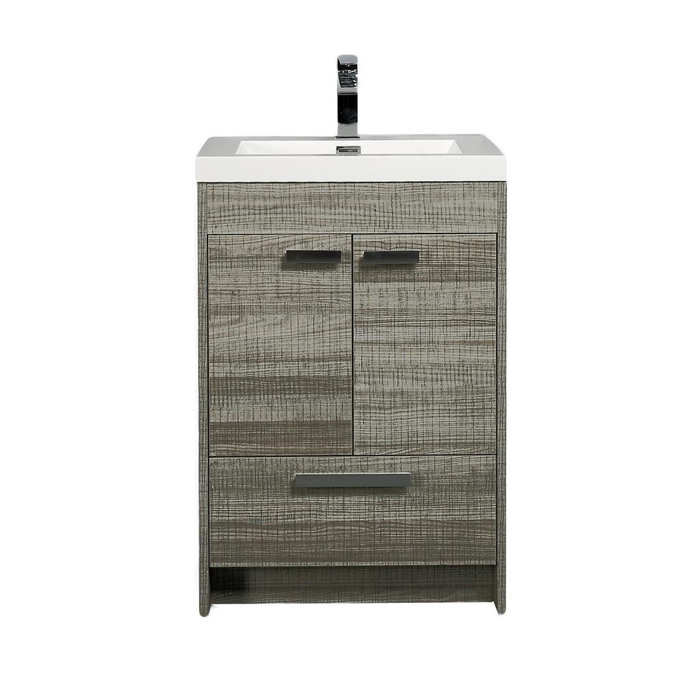 """Lugano 24"""" Ash Modern Bathroom Vanity w/ White Integrated Top. Picture 1"""