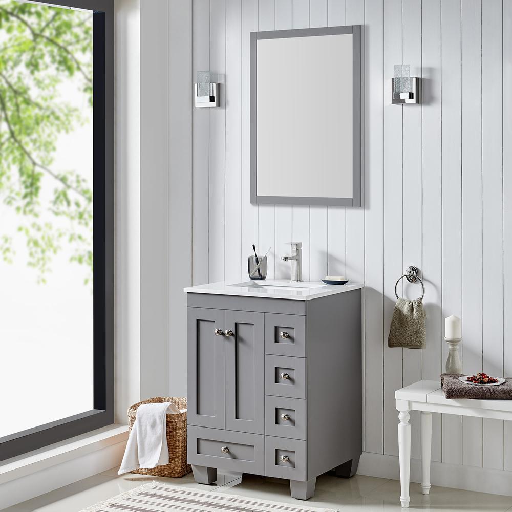 "Acclaim 24"" Gray Transitional Bathroom Vanity w/ White Quartz Top. Picture 2"