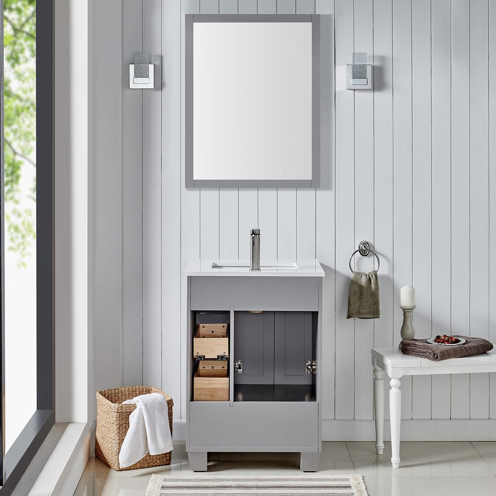 "Acclaim 24"" Gray Transitional Bathroom Vanity w/ White Quartz Top. Picture 3"