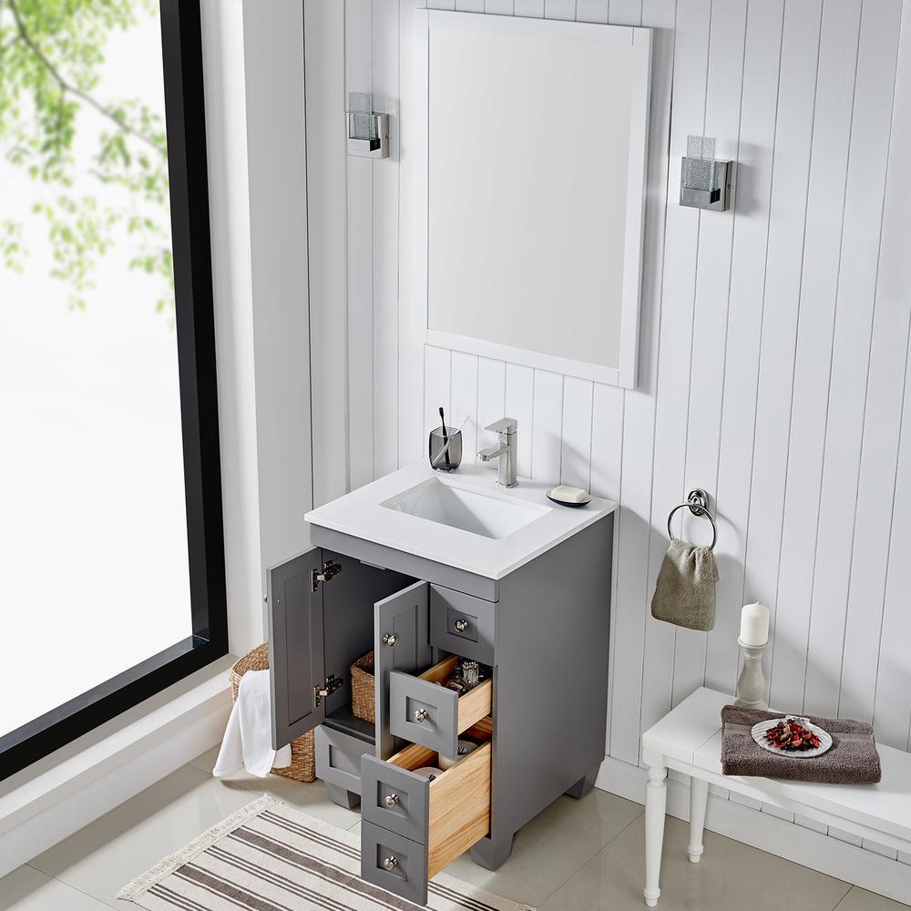 "Acclaim 24"" Gray Transitional Bathroom Vanity w/ White Quartz Top. Picture 4"