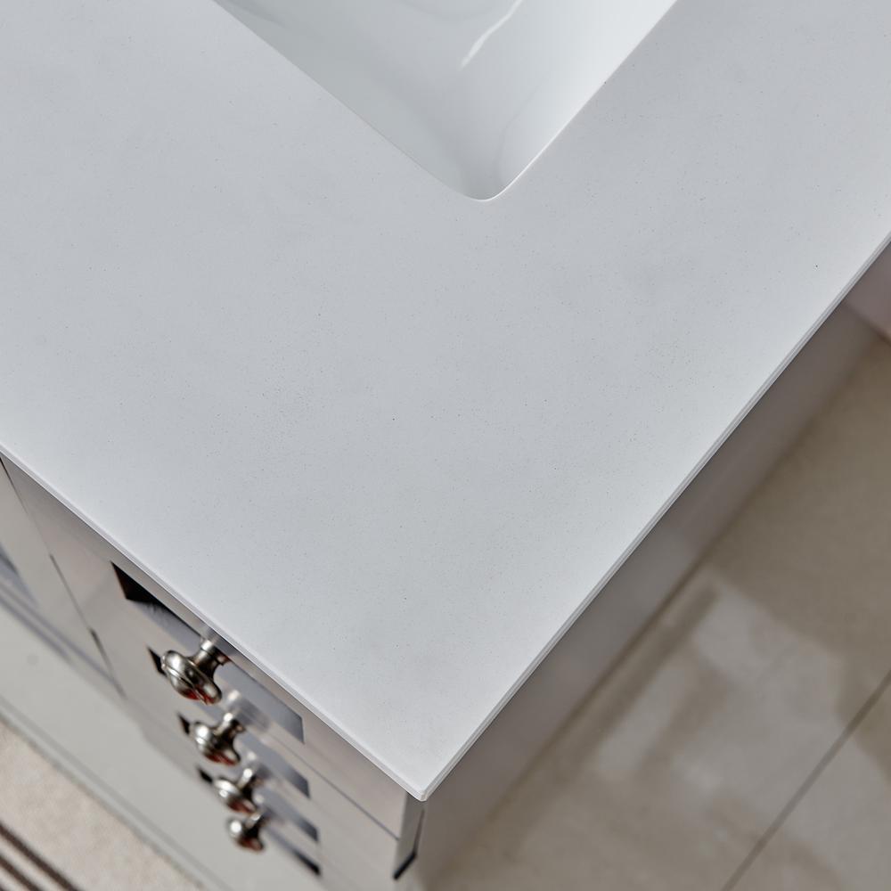 "Acclaim 24"" Gray Transitional Bathroom Vanity w/ White Quartz Top. Picture 5"