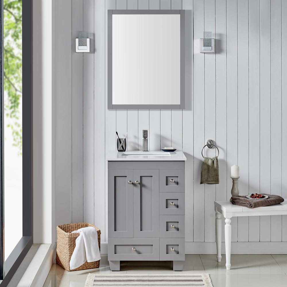 "Acclaim 24"" Gray Transitional Bathroom Vanity w/ White Quartz Top. Picture 1"