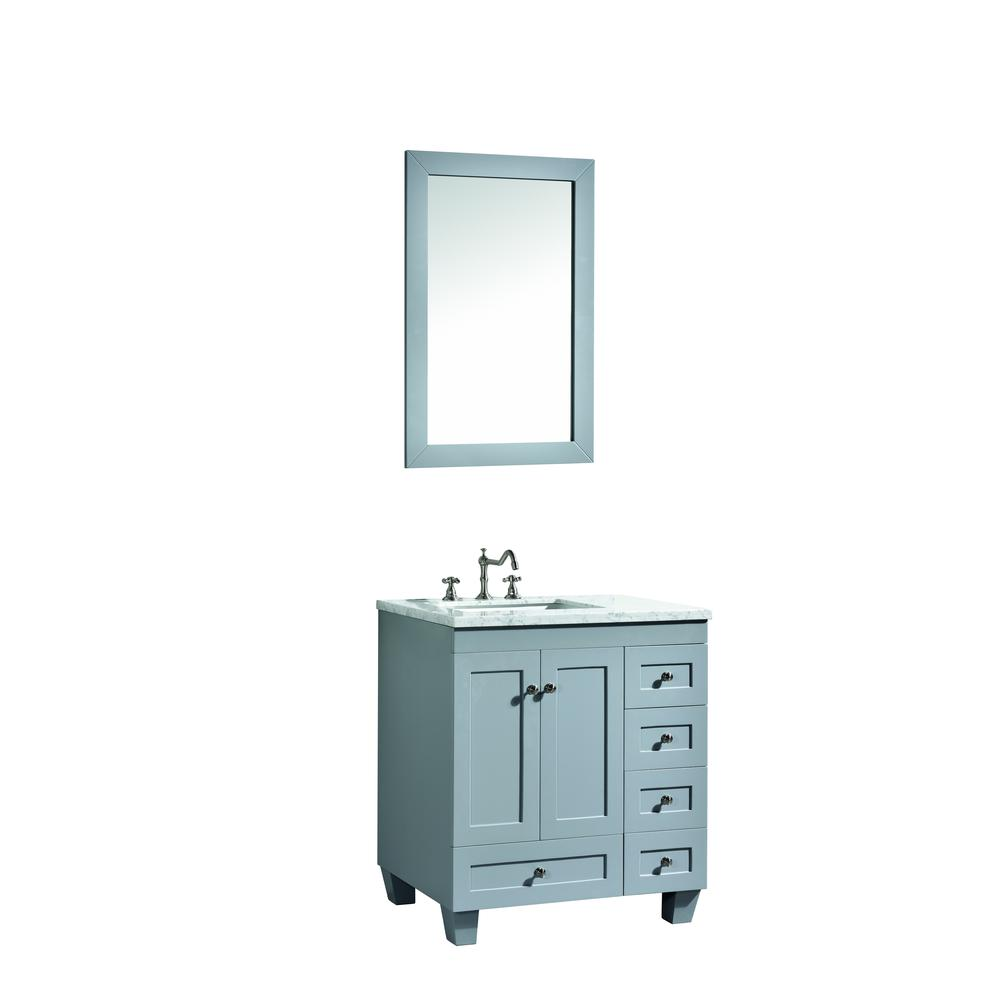 """Acclaim 28"""" Gray Transitional Bathroom Vanity w/ White Carrara Top. Picture 2"""