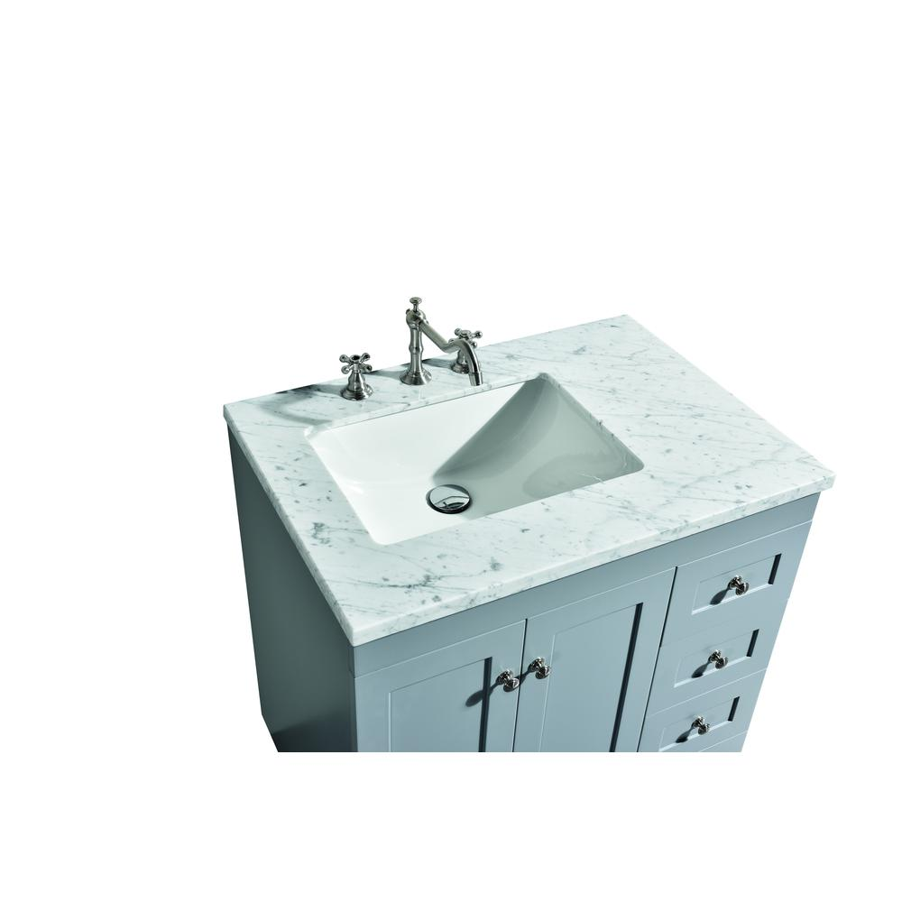"""Acclaim 28"""" Gray Transitional Bathroom Vanity w/ White Carrara Top. Picture 3"""