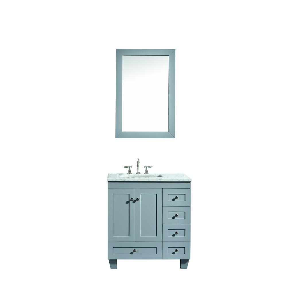 """Acclaim 28"""" Gray Transitional Bathroom Vanity w/ White Carrara Top. Picture 1"""
