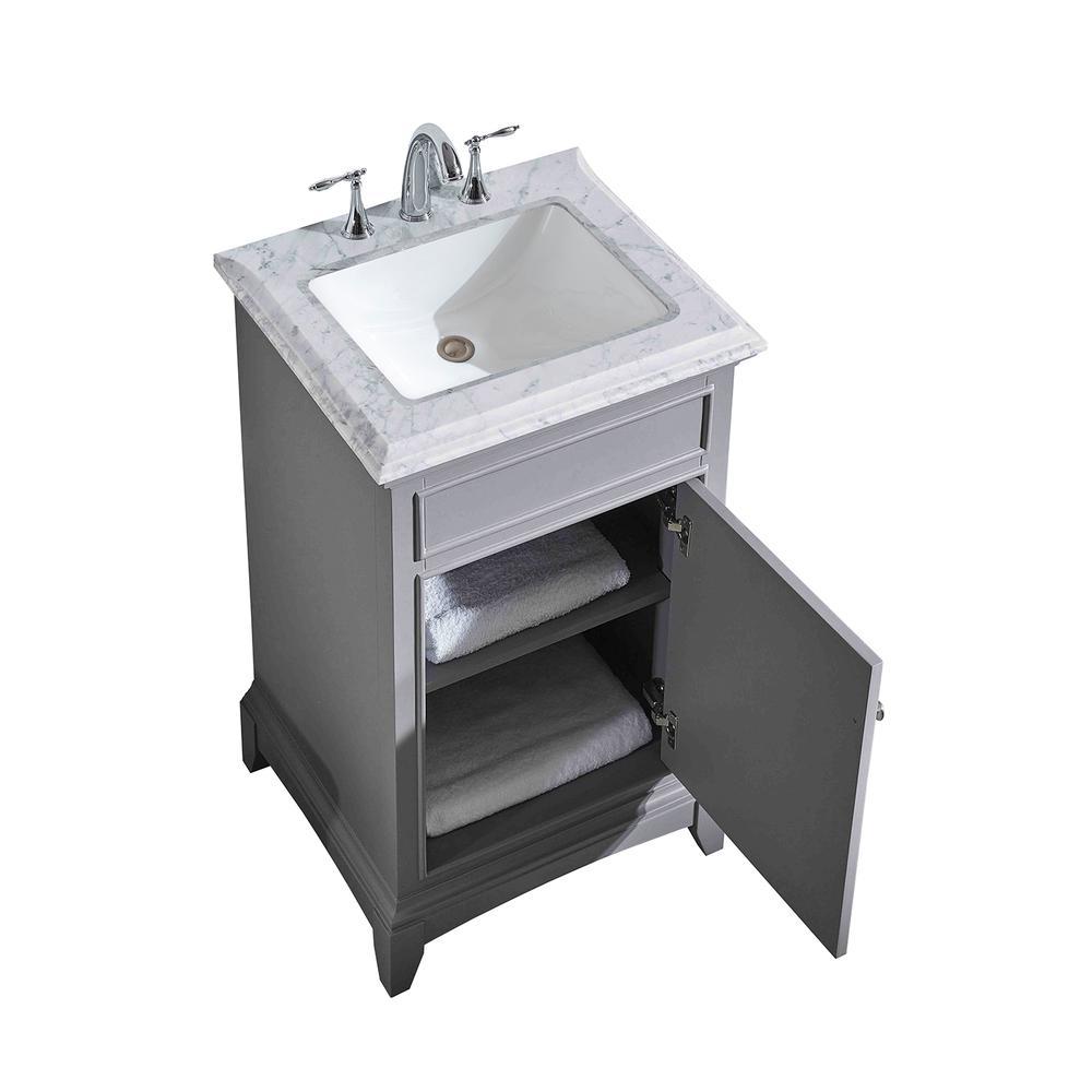 "Elite Princeton 24"" Gray Bathroom Vanity w/ Double Ogee Edge White Carrara Top. Picture 1"