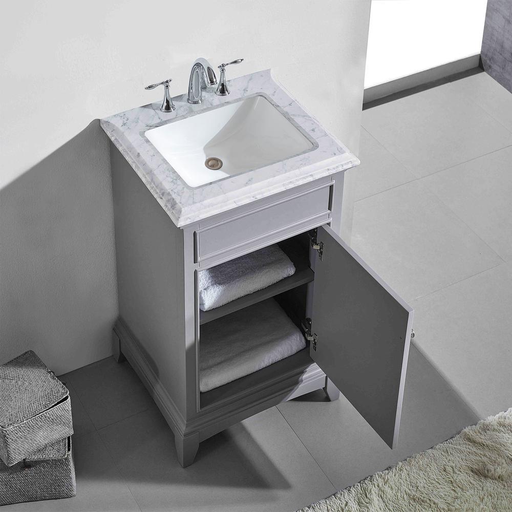 "Elite Princeton 24"" Gray Bathroom Vanity w/ Double Ogee Edge White Carrara Top. Picture 2"