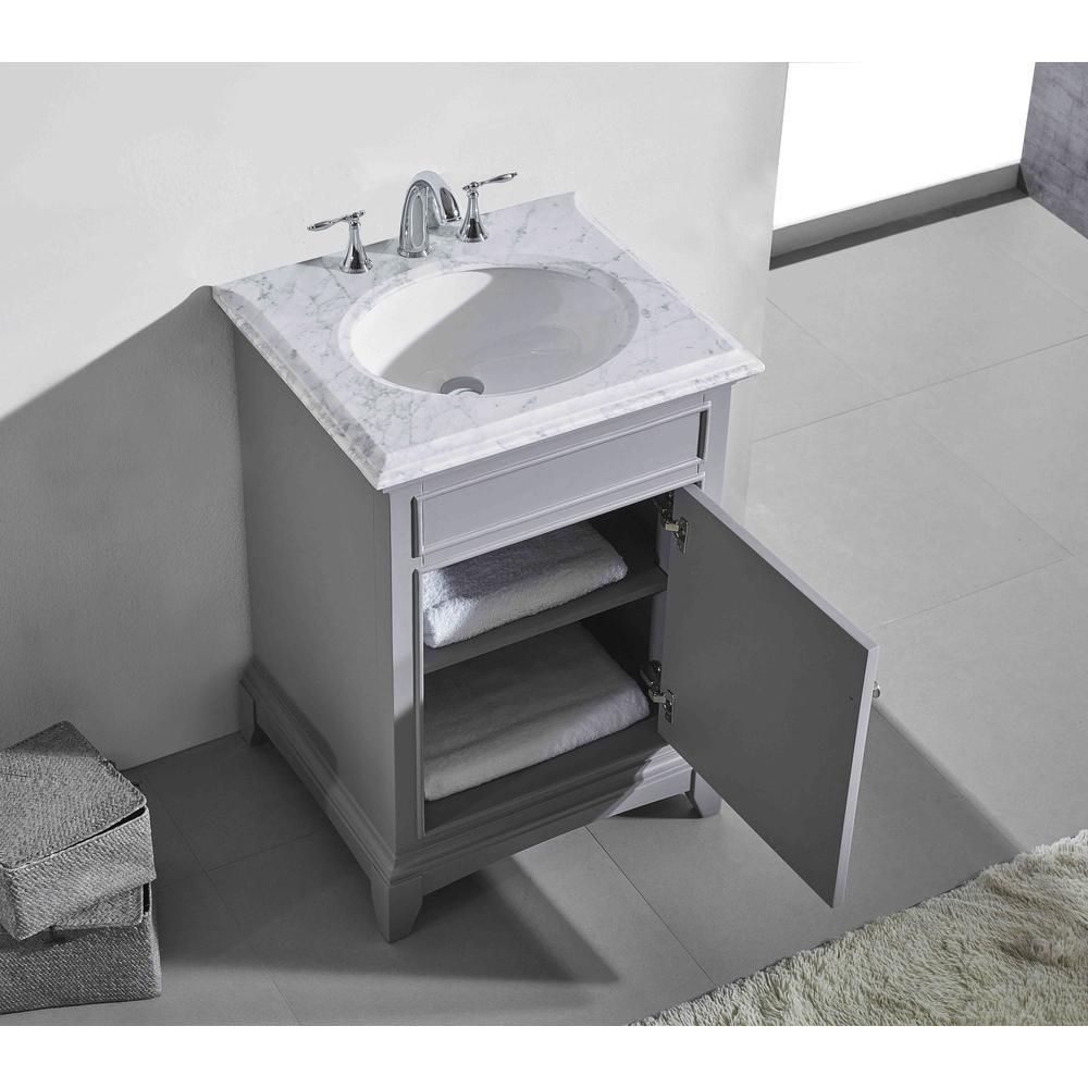 "Elite Stamford 24"" Gray Bathroom Vanity w/ Double Ogee Edge White Carrara Top. Picture 3"