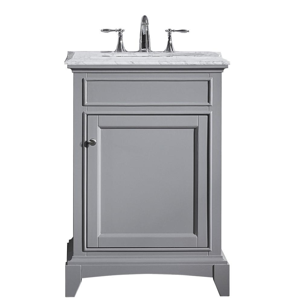 "Elite Stamford 24"" Gray Bathroom Vanity w/ Double Ogee Edge White Carrara Top. Picture 1"