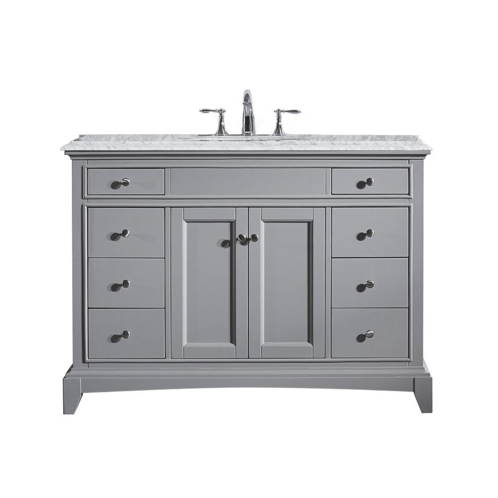 Elite Princeton 42 Gray Bathroom Vanity W Double Ogee Edge White Carrara Top