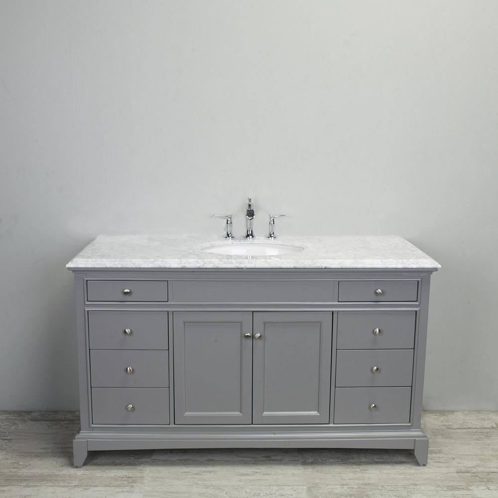 "Elite Stamford 60"" Gray Single Sink Bathroom Vanity w/ Double Ogee Edge White Carrara Top. Picture 2"