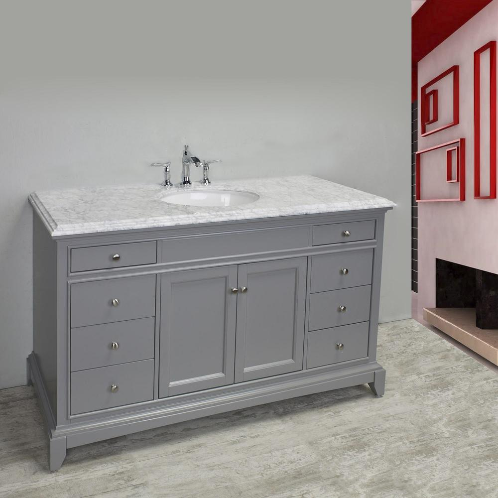 "Elite Stamford 60"" Gray Single Sink Bathroom Vanity w/ Double Ogee Edge White Carrara Top. Picture 3"